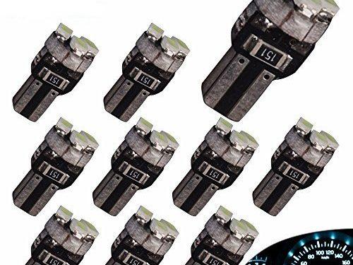 YITAMOTOR 10 X T5 3-SMD Dash Gauge Instrument Side Ice Blue LED Bulbs Light 74 17 18 37