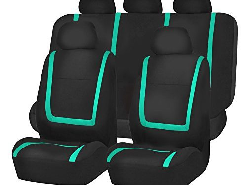 FH GROUP FH-FB032115 Unique Flat Cloth Seat Covers, Mint / Black Color- Fit Most Car, Truck, Suv, or Van