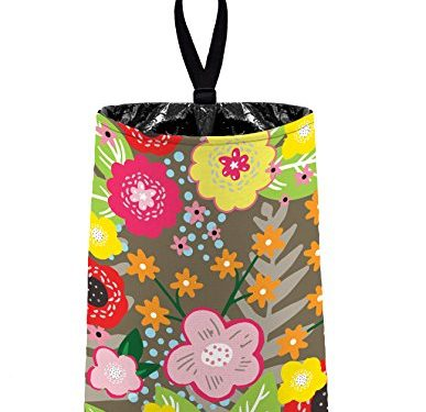 Auto Trash Floral Burst – Taupe by The Mod Mobile – litter bag/garbage can for your car