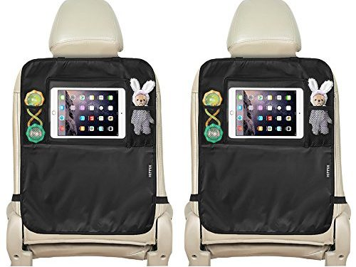 Seat Back Protector, 2 Pack Waterproof Kick Mats, Hippih Back Seat Protector with Tablet Holder