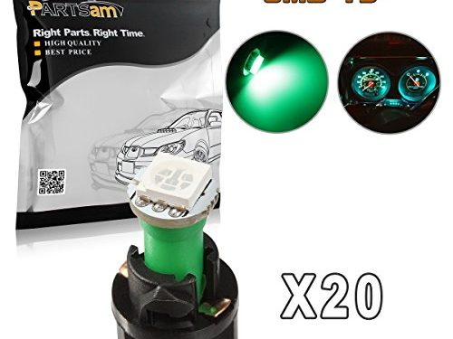 Partsam 20PCS Green T5 37 74 PC74 5050 SMD Instrument Panel LED Light Gauge Cluster Dash Indicator Bulbs with Twist Lock Socket