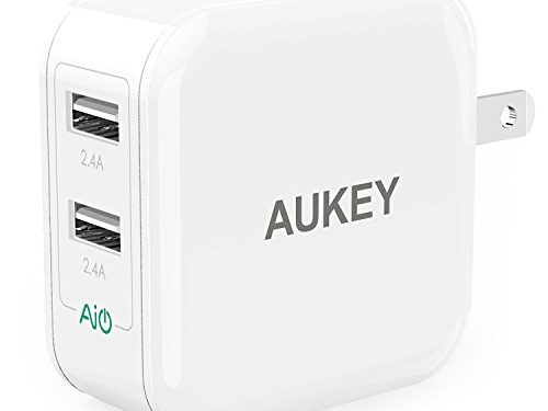 AUKEY USB Wall Charger with Dual-Port 24W/4.8A Output and Foldable Plug – White