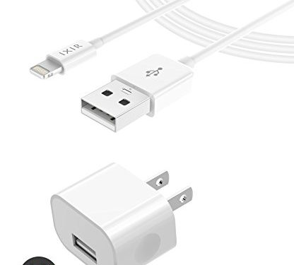 iPhone 8 Charger set , iPhone X / 8 / 8 Plus / 7 Plus / 7 /6S plus / 6S / 6 Charger 5W – 1 Amp Power adapter Apple MFi Certified Lightning to USB Cable Kit by Ixir – 1 Wall Charger + 1 Cable