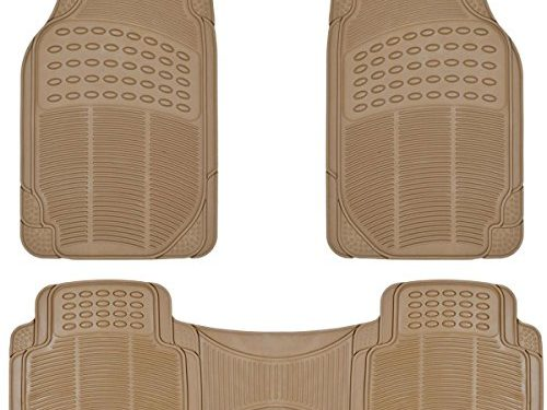 All Weather Protection Liners 3 PC Set Tan Beige – BDK ProLiner Heavy Duty Rubber Floor Mats for Auto