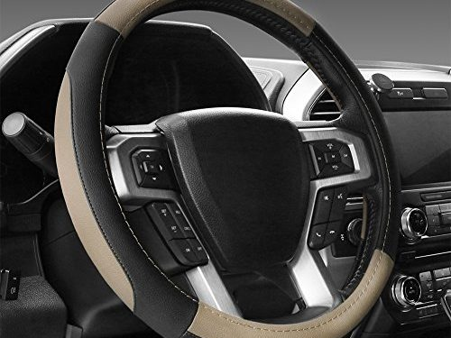 16″ – SEG Direct Black and Beige Microfiber Leather Steering Wheel Cover For F-150 Tundra Range Rover 15.5″