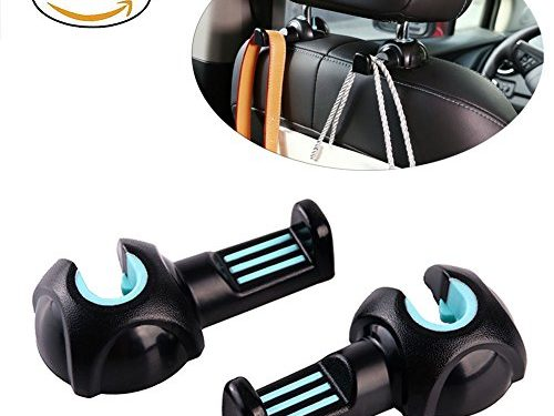 Car Seat Hook, Headrest Hooks Back Seat Hanger Holder for Umbrella / Handbags / Purse / Grocery Bag / Plastic Bags and More,Vehicle Interior Back Seat Storage Hooks Organizer Black blue,2 PCS