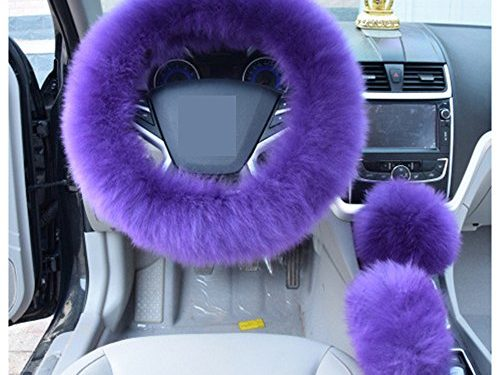 Fendior 3 Pcs 1 Set Winter Warm Faux Wool Steering Wheel Cover with Handrake Cover & Gear Shift Cover for 14.96″ X 14.96″ Steeling Wheel in Diameter