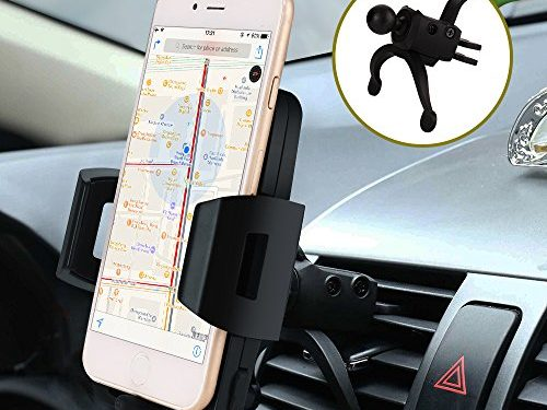 Car Mount,Car Phone Holder Air Vent Bvenko Hide Lightning Cable and 360° Swivel Air Vent Car Phone Mount with A Quick Release Button Silicone pad Phone Holder for iPhone X,8/7Plus,Galaxy S8/7 and Othe