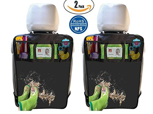 2 Pack Kick Mats with Tissue Holder, Waterproof Car Seat Back Protector with Organizer Storage Pocket –Universal Fit – by Termichy 2-Black