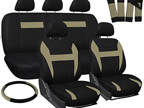 OxGord Car Seat Cover – Beige Tan Black fits Car, Truck, Van, SUV – Full Set