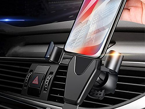 Car Phone Holder, JAHMAI Air Vent Gravity Sensing Auto Lock Metal Phone Mount Smart No Touch Design One hand Operate for iPhone X/8/7/6s/Plus/5S/4S, Samsung S8/S7/S6/Note and Other Smartphones