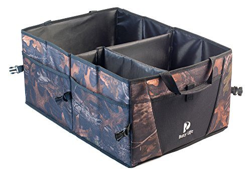 Best For Keeping All Truck Supplies Together, Rugged and Durable for Hauling Cargo, While Folding Flat for Easy Storage. Never slides Around. – Busy Life Camo Trunk Organizer