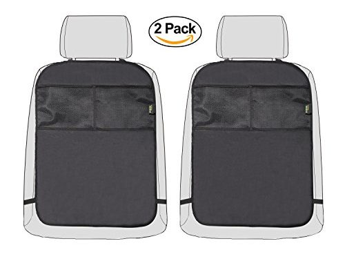 Car Kick Mat Seat Back Protector for Kids with 2 Storage Organizer Pockets – Waterproof Seat Back Covers for Car, SUV, Truck or Van-2 Pack