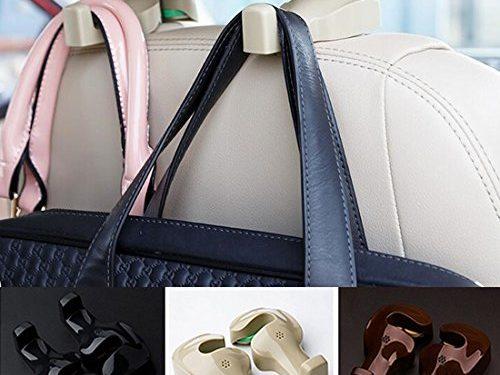 Spotest Car hooks headrest hangers , Unique Bargains Pair Gray Plastic Car Seat Headest Hanger Bags Oranizer Hook Holder hang purse or grocery bags Beige