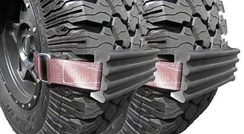 "Chain or Snow Tire Alternative Set of 2 Blocks & Straps – Emergency Rescue Device, Prevents Slipping in Snow, Sand & Mud – The ""Get Unstuck"" Traction Solution for Trucks/SUV's XL – Trac-Grabber"