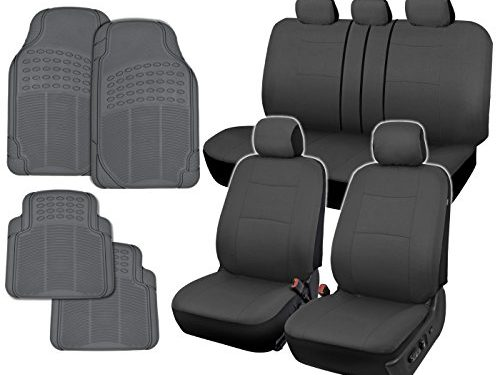 InstaSeat Car Seat Covers & Floor Mats Solid Gray NeoCloth & All-Weather Rubber