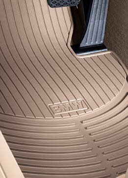 Beige actual color is light brown – BMW 3 Series E90, E91, E92, E93 2006-2012 all-weather rubber floor mats — FRONT Set of 2