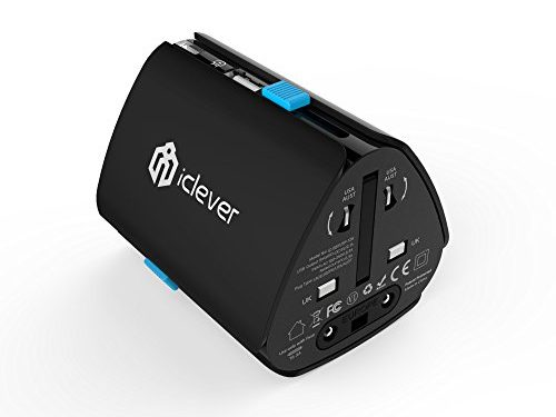 iClever Worldwide Travel Adapter, All in One Universal Wall Charger International AC Power Plug Adapter with USB Charging Port for USA EU UK AUS Cell Phone Laptop