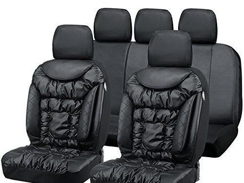 Big Ant Seat Covers, Comfortable Car Seat Covers Leatherette Waterproof Full Set Front Back Cover with 5 Detachable Headrests – Fit Most Car, Truck, Suv, or Van Black