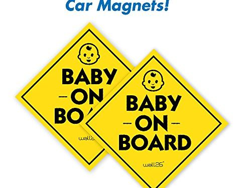 Wall26 Reflective Diamond Baby On Board Magnetic Car Signs/ Bumper StickersSet of 2 Safety Caution Sign