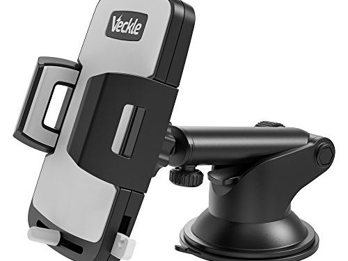 Car Phone Mount, Veckle Dashboard Cell Phone Holder for Car With Release Button Universal Windshield Car Mount Holder Suction cup Cradle for Smartphone iPhone 8 7 6S 6 Plus Samsung Galaxy S8 GPS Black