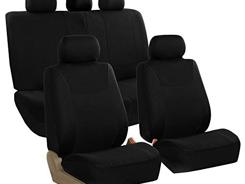 FH GROUP FH-FB030115-SEAT Light & Breezy Black Cloth Seat Cover Set Airbag & Split Ready- Fit Most Car, Truck, Suv, or Van
