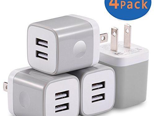USB Wall Charger, X-EDITION 4-Pack 10.5W/2.1A Universal 2-Port USB Wall Plug Power Adapter for iPhone X, 8/8 Plus 7/7 Plus, 6/6 Plus 6S, iPad, Samsung Galaxy S5 S6 S7 Edge, Nexus, LG, HTC Gray