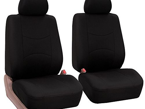 FH Group Universal Fit Flat Cloth Pair Bucket Seat Cover, Black FH-FB050102, Fit Most Car, Truck, Suv, or Van