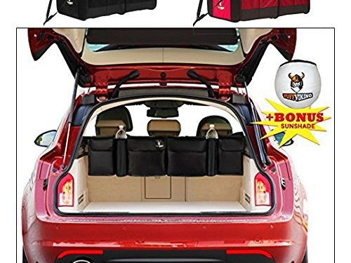 """Backseat Storage & Car Organizer by Tuff Viking, Extra Large most efficient space saving design with W 44.5"""" x D 5"""" x H 12"""" premium quality, use as trunk organizers w/ free Windshield Sunshade"""