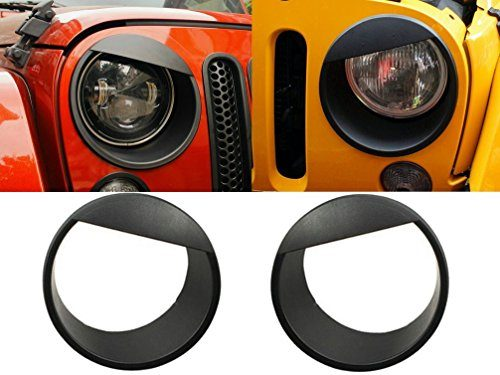Pair – Upgrade Clip-in Version Opar Black Angry Bird Headlight Cover Bezels for 07-18 Jeep Wrangler & Wrangler Unlimited JK