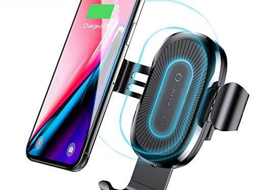Baseus Qi Fast Wireless Car Charger Air Vent Phone Holder Car Mount for Samsung Galaxy S8, S7/S7 Edge, Note 8 5 and Standard Charge for iPhone X, 8/8 Plus & Qi Enabled Devices Black