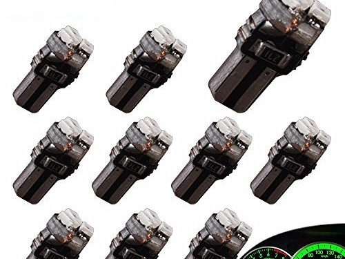 YITAMOTOR 10 X T5 3-SMD Dash Gauge Instrument Side Green LED Bulbs Light 74 17 18 37