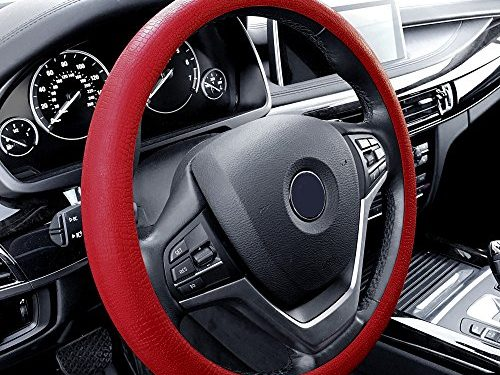FH Group FH3001BURGUNDY Burgundy Steering Wheel Cover Silicone Snake Pattern Massaging grip in Color-Fit Most Car Truck Suv or Van