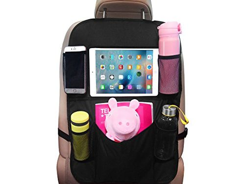 OMORC Car Back Seat Organizer with Tablet HolderBack Seat Protector strong Buckles to Prevent Sag, Multi-Pocket for Bottles, Tissue Boxes,Toy and Baby Travel Accessories