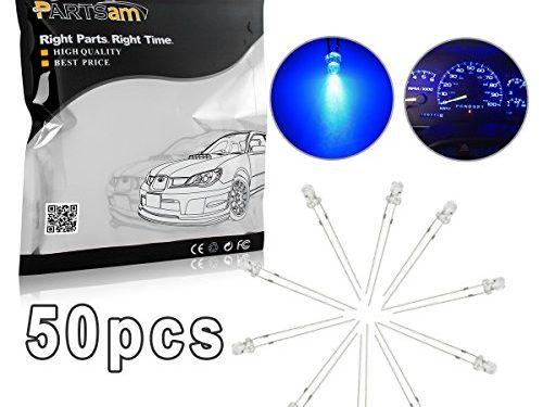 Partsam Blue 3mm Emitting Diode LED Bi-pin Mini Soldering DIY Lamps Gauge Cluster Instrument Panel Lights 12V Pack of 50pcs