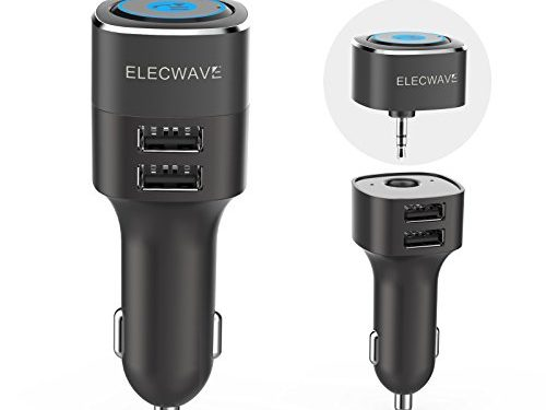 Bluetooth Receiver, Elecwave Hands-Free Phone Call Car kit & Music Streaming Receiver with Dual USB Car Charger 4.8A/5V + 3.5mm Aux Input for Home/Car Stereo Audio System + Magnetic Mounts EB06