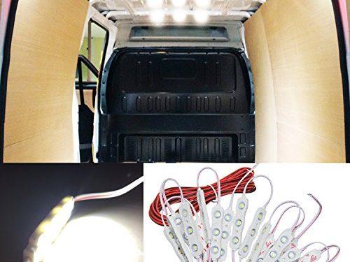 12V 60 LEDs Van Interior Light Kits, Ampper LED Ceiling Lights Kit for Van Boats Caravans Trailers Lorries Sprinter Ducato Transit VW LWB 20 Modules, White