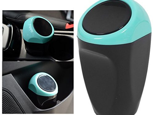 SPOTEST Mini Home Auto Car Trash Rubbish Can Office Desktop Garbage Dust Case Holder Box Bin ABS Plastic Blue