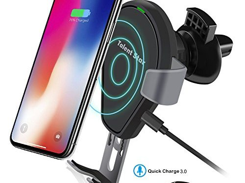 Wireless Car Charger, Fast Wireless Charging Mount Air Vent Gravity Phone Holder Cradle Car Charger w/ Quick Charge 3.0 for iPhone X/8 Plus/8, Samsung Galaxy S8 and All Qi-enabled Devices