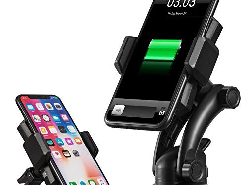 IKOPO Automatic Phone Holder for Car with Wireless Charger,Wireless Charging Mount Fast Charge for Samsung Galaxy S8, S7/S7 Edge, Note 8 5 &Standard Charge for iPhone X, 8/8 Plus & Qi Enabled Devices