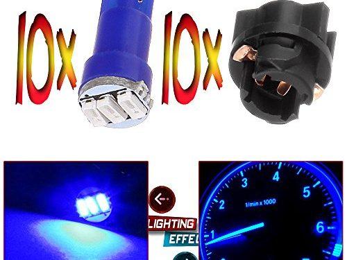 CCIYU 10 T5 Twist Socket Blue Dashboard Gauge 3-3014 SMD LED Wedge Lamp Bulbs Light T5 74 37 286 18 12v For 2004-2011 Chevrolet SSR Cavalier Equinox Corvette Cobalt Cavalier Avalanche 2500