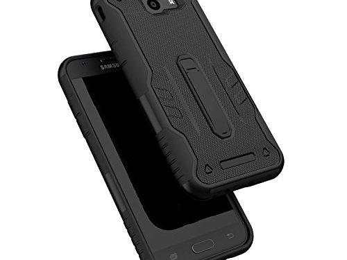 Samsung Galaxy J3 Emerge / J3 Prime / J3 Luna Pro / J3 Mission / J3 Eclipse / Amp Prime 2 / Express Prime 2 Case, ELESNOW Tough Rugged Dual Layer Protective Case with Kickstand Black