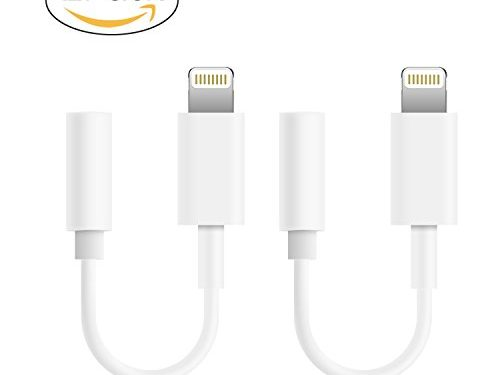 iPhone Aux Adpater, Lightning to 3.5 Audio Jack Adapter for Apple iPhone 7 & 7 Plus White 2Pack
