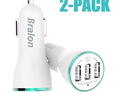 Rapid Car Charger, Bralon 3.4A 3 Ports 2-Pack Car Charger with Smart Identification for iPhone 8 / 7 / 6 / 5 / 4 S/Plus, iPad Pro / Air 2 / mini, Galaxy S8 /S7 / S6 / Edge / Plus, Note 5/4 and More