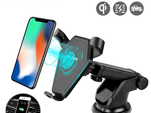 Wireless Car Charger for Smart Phones Phone Charger Car Mount Gravity Linkage Air Vent/Dashboard Suction Mount Compatible with all Qi-Enabled Devices black