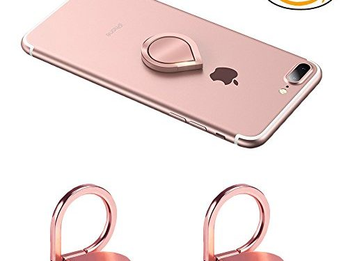 Phone Ring Holder, 2PCS Full-metal 360° Rotation Phone Grip Kickstand Work on Magnetic Car Holder Universal Finger Ring Stand for iPhone 8 7 7 Plus 6S 6 5 5S, Samsung Galaxy and iPads Rose Gold