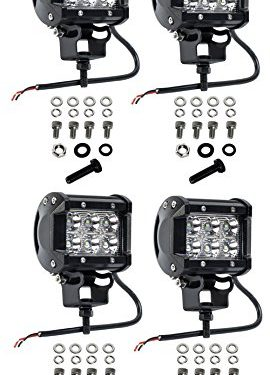 Cutequeen 4 X 18w 1800 Lumens Cree LED Spot Light for Off-road SUV Boat 4×4 Jeep Lamp Tractor Marine Off-road Lighting Rv Atvpack of 4