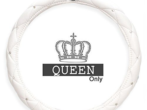 Ladies Car Steering Wheel Cover with Diamond Lattice Girly Classy Fashion Collection Car Steering Wheel Cover with Crown and Diamonds QUEEN ONLY White