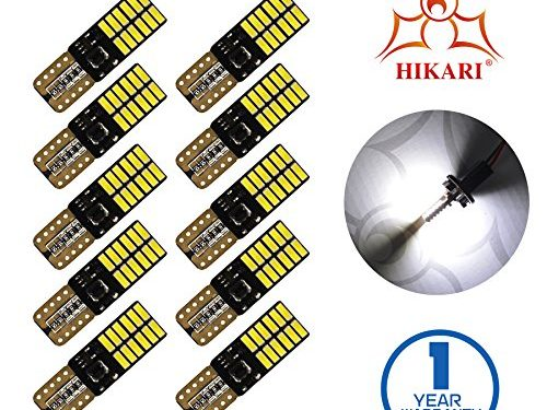 HIKARI Extremely Bright 3030 Chipset LED Bulbs for Car Interior Dome Map Door Courtesy License Plate Lights Compact Wedge T10 168 194 2825 Xenon White Pack of 10