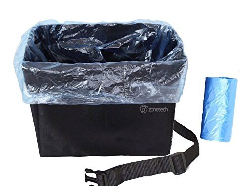 Compact Car Trash Bin – Fully Leakproof Prevents Spills and Leaks! Maximum Trash, Litter, Kids Items Storage! Adjustable Strap for Easy Installation! – Zone Tech Auto Trash Bag